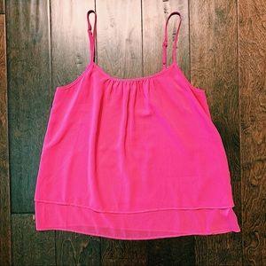 Bright pink tank top